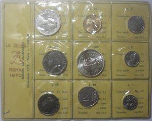 obverse: Repubblica Italiana. Serie divisionale 1970. 9 valori  di cui  1000 Lire e 500 Lire. Ag. 20 lire con P invece che R.