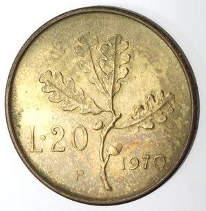 reverse: Repubblica Italiana. 20 lire 1970. P al posto della R di Roma. BR.