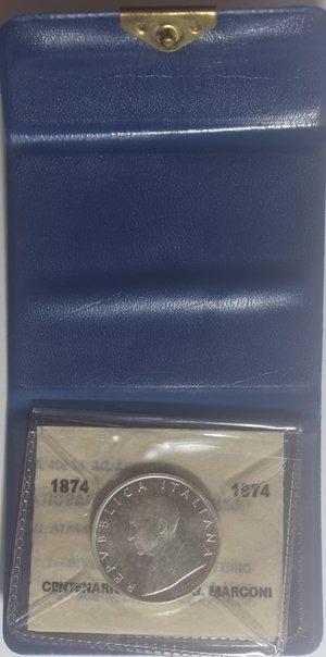 obverse: Repubblica Italiana. 500 Lire. Marconi 1974. Ag. Confezione zecca. Gig. 416.