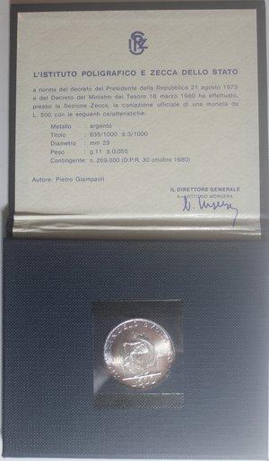 obverse: Repubblica Italiana. 500 lire 1975 Michelangelo. Ag.