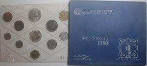 obverse: Repubblica Italiana. Serie divisionale 1980. 10 valori con 500 Lire e medaglia. Ag. FDC.