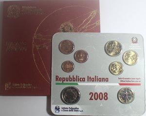 obverse: Repubblica Italiana. Serie divisionale della Zecca 2008. 8 Valori.