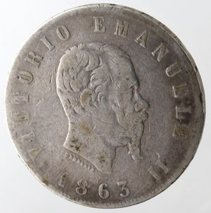 D/ Casa Savoia. Vittorio Emanuele II. 2 Lire 1863 Stemma Napoli. Ag. qMB.