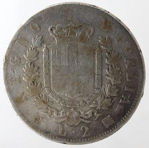 R/ Casa Savoia. Vittorio Emanuele II. 2 Lire 1863 Stemma Napoli. Ag. qMB.