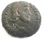 D/ Impero Romano. Gioviano. 363-364 d.C. AE.Sirmium. D/ DN IOVIANVS PF AVG. Busto diademato a destra. R/ VOT / V / MVLT / X entro corona. Sotto A SIRM. Peso gr. 2,74. Diametro 20 mm. qSPL. Patina marrone. Schiacciture di conio.