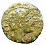 D/ Provincia Romana.Claudio .41-54 d.C.Bronzo coloniane.D\ testa di Claudio a destra.R\ Divinità verso sinistra nel campo N.Peso 2,55 gr.Diametro 15,00 mm.BB