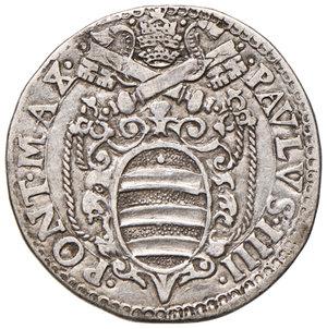 obverse: Ancona. Paolo IV (1555-1559). Testone 1558 AG gr. 9,31. Muntoni 34. Berman 1045. Dubbini-Mancinelli pag. 139 (2° tipo). MIR 1031/8. Data molto rara. Buon BB/BB