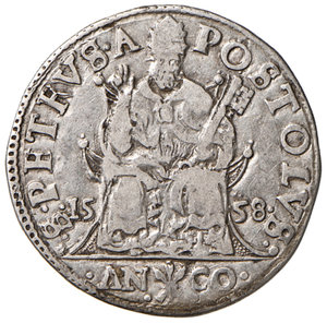 reverse: Ancona. Paolo IV (1555-1559). Testone 1558 AG gr. 9,31. Muntoni 34. Berman 1045. Dubbini-Mancinelli pag. 139 (2° tipo). MIR 1031/8. Data molto rara. Buon BB/BB