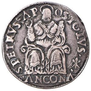 reverse: Ancona. Pio IV (1559-1565). Testone AG gr. 9,37. Muntoni 46. Berman 1072. Dubbini-Mancinelli pag. 144 (2° tipo). MIR 1060/2. Patina di medagliere, migliore di BB