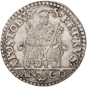 reverse: Ancona. Pio V (1566-1572). Testone AG gr. 9,44. Muntoni 32. Berman 1105. Dubbini-Mancinelli pag. 146 (2° tipo). MIR 1097/2. Bei fondi, buon BB