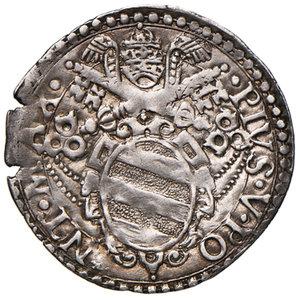 obverse: Ancona. Pio V (1566-1572). Giulio AG gr. 3,25. Muntoni 36. Berman 1107. Dubbini-Mancinelli pag. 147. MIR 1098/1. Rarissimo. Bella patina di medagliere, q.SPL