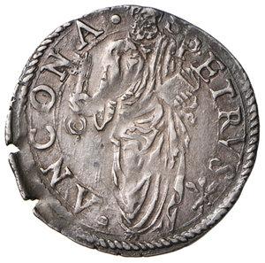 reverse: Ancona. Pio V (1566-1572). Giulio AG gr. 3,25. Muntoni 36. Berman 1107. Dubbini-Mancinelli pag. 147. MIR 1098/1. Rarissimo. Bella patina di medagliere, q.SPL