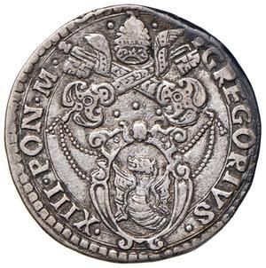obverse: Ancona. Gregorio XIII (1572-1585). Testone AG gr. 9,40. Muntoni 232 var. Berman 1218. Dubbini-Mancinelli pag. 157. MIR 1204/6. Buon BB