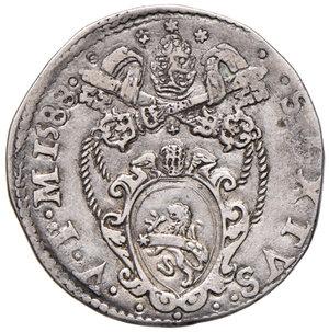 obverse: Ancona. Sisto V (1585-1590). Testone 1588 AG gr. 9,43. Muntoni 77b. Berman 1349. Dubbini-Mancinelli pag. 170 (1° tipo). MIR 1336/11. Raro. BB