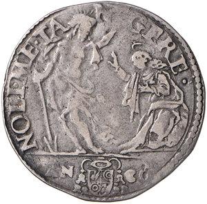reverse: Ancona. Sisto V (1585-1590). Testone 1588 AG gr. 9,43. Muntoni 77b. Berman 1349. Dubbini-Mancinelli pag. 170 (1° tipo). MIR 1336/11. Raro. BB