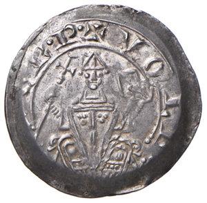 obverse: Aquileia. Volchero (1204-1218). Denaro AG gr. 1,22. Bernardi 11. MEC12, –. Rarissimo e in stato di conservazione eccezionale, q.FDC