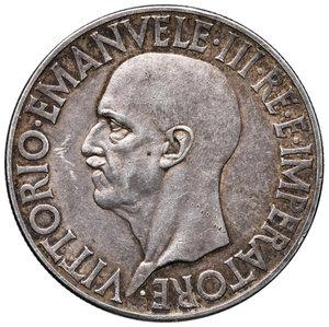 """Savoia. Vittorio Emanuele III re d'Italia (1900-1946). Da 20 lire 1936/XIV """"Impero"""" AG. Pagani 681. Rara. Patina di medagliere. Segnetto da contatto nel campo al dr., q.SPL"""