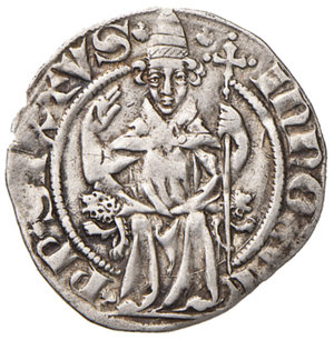 obverse: Avignone. Innocenzo VI (1352-1362). Mezzo grosso AG gr. 1,60. PdA 4160. Muntoni 3. Berman 192. MIR 207/1. Rarissimo. q.SPL