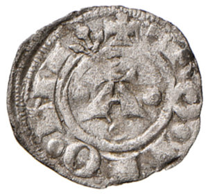 reverse: Bologna. Bertrando del Poggetto (1327-1334). Bolognino piccolo MI gr. 0,50. Chimienti 54. Molto raro. BB