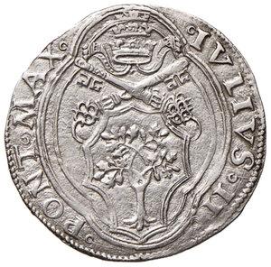 obverse: Ancona. Giulio II (1503-1513). Giulio AG gr. 3,85. Muntoni 61. Berman 591. Dubbini-Mancinelli pag. 99 (2° tipo, lett. C). MIR 600/2 (zecca della Marca anconitana, Macerata o Ancona). SPL/q.SPL