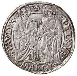reverse: Ancona. Giulio II (1503-1513). Giulio AG gr. 3,85. Muntoni 61. Berman 591. Dubbini-Mancinelli pag. 99 (2° tipo, lett. C). MIR 600/2 (zecca della Marca anconitana, Macerata o Ancona). SPL/q.SPL