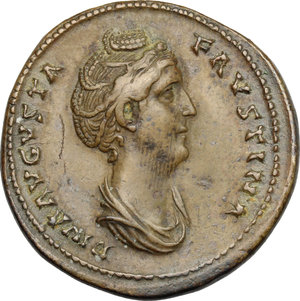 obverse: Faustina I, wife of Antoninus Pius (died 141 AD).. AE Sestertius, after 141 AD
