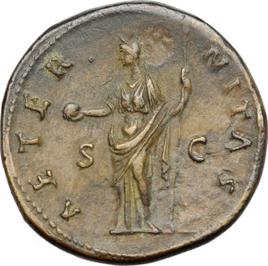 reverse: Faustina I, wife of Antoninus Pius (died 141 AD).. AE Sestertius, after 141 AD
