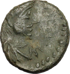 "D/ Libius Severus (461-465). AE Nummus, Rome mint.  D/ Diademed, draped and cuirassed bust right. R/ Monogram of Ricimer within wreath. RIC X, 2715. AE. g. 0.64   RR. Very rare and in excellent condition for issue. Earthen dark green patina. Slightly off centre. Good VF. Libius Severus was proclaimed emperor by Ricimer in Ravenna on 19 November 461. ""His nummi, probably of Rome, are anomalous in that they bear not Severus' monogram  but one formed by the letters R,C,I, and M, which can only stand for RICIMER. The use of a monogram was in itself an innovation on Western coins, though they had been customary for nearly two decades in the East, and the employment of Ricimer's name, that of an imperial subject, was a reflection of the patrician's great position in the state. (P. Grierson, LRC, p. 254)."