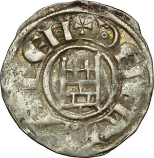 reverse: Jerusalem.  Baldwin III (1143-1163). BI Denier with tower of David