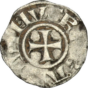 D/ Jerusalem. Baldwin III (1143-1163). BI Obol.  D/ Cross pattèe. R/ Tower of David. Schl. pl. III, 24. Malloy 21 (type). BI. g. 0.37  mm. 13.00  RR. In this series A has annulet ends, tower's top ends are annulets. Good VF.