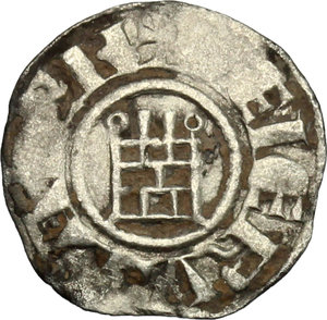 R/ Jerusalem. Baldwin III (1143-1163). BI Obol.  D/ Cross pattèe. R/ Tower of David. Schl. pl. III, 24. Malloy 21 (type). BI. g. 0.37  mm. 13.00  RR. In this series A has annulet ends, tower's top ends are annulets. Good VF.
