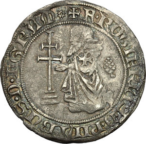obverse: Rhodes.  Roger de Pins (1355-1365). AR Gigliato