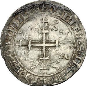 reverse: Rhodes.  Roger de Pins (1355-1365). AR Gigliato
