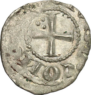 D/ Tripoli. Bohemond V (1233-1251). BI Denier with six pointed star.  D/ Cross pattèe, three pellets in the second angle. R/ Eight pointed star, annulets between rays. Schl. pl. IV, 17. Malloy 19. BI. g. 0.61  mm. 16.00    VF.