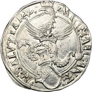 obverse: Carmagnola.  Michele Antonio di Saluzzo (1504-1528).. Cornuto