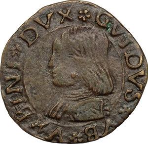 obverse: Casteldurante.  Guidobaldo I di Montefeltro (1482-1508). Quattrino