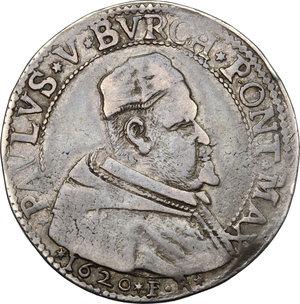 obverse: Ferrara.  Paolo V (1605-1621). Testone 1620