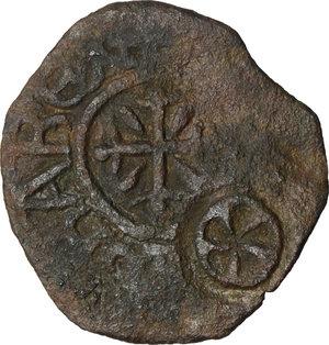 obverse: Gaeta.  Tancredi (1189-1194).. Follaro con contromarca con rosetta