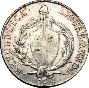 obverse: Genova.  Repubblica Ligure (1798-1805).. Da 4 lire A. I, 1798