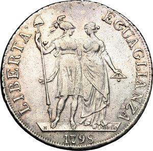 reverse: Genova.  Repubblica Ligure (1798-1805).. Da 4 lire A. I, 1798