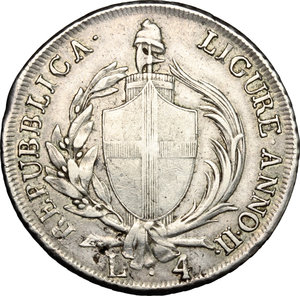 obverse: Genova.  Repubblica Ligure (1798-1805).. Da 4 lire A. II, 1799