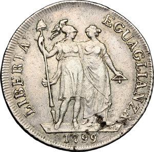 reverse: Genova.  Repubblica Ligure (1798-1805).. Da 4 lire A. II, 1799