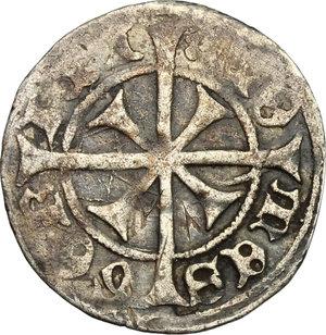 obverse: Gorizia.  Leonardo Conte (1454-1500). . Denaro con croce tirolina