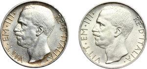 obverse: Vittorio Emanuele III (1900-1943). Lotto di 2 monete da 10 lire del 1928, una e due rosette