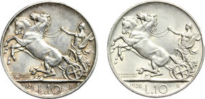 reverse: Vittorio Emanuele III (1900-1943). Lotto di 2 monete da 10 lire del 1928, una e due rosette