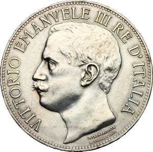 obverse: Vittorio Emanuele III (1900-1943). 5 lire 1911