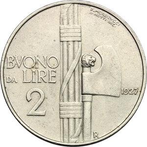 reverse: Vittorio Emanuele III (1900-1943). 2 lire 1927