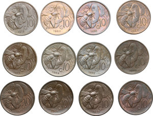 reverse: Vittorio Emanuele III (1900-1943). Lotto di 19 monete da 10 centesimi 1919-1937