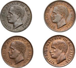 obverse: Vittorio Emanuele III (1900-1943). Lotto di 4 monete da 1 centesimo: 1902 (RRR, SPL+), 1903, 1904, 1908