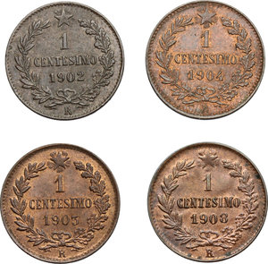 reverse: Vittorio Emanuele III (1900-1943). Lotto di 4 monete da 1 centesimo: 1902 (RRR, SPL+), 1903, 1904, 1908